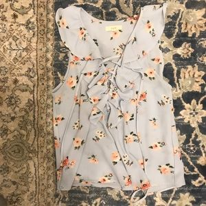 Floral ruffle tie up top
